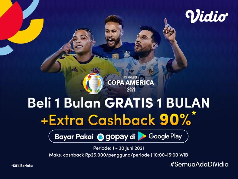 Nikmati Semua Hiburan di Vidio, Beli 1 Bulan Gratis 1 Bulan + Cashback s.d. 90% Bayar Pakai GoPay!
