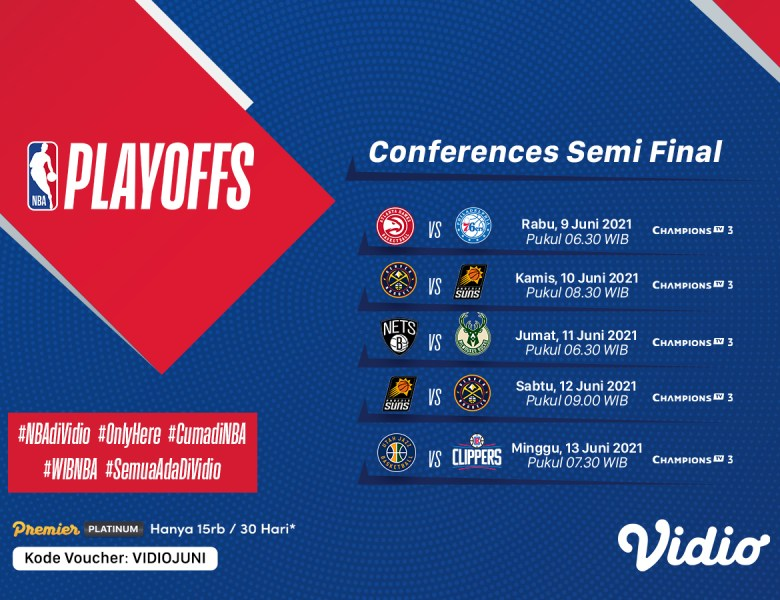 Jadwal Semifinal NBA 2021 Pekan Ini: Nikola Jokic Terpilih Sebagai Pemain Terbaik, 9-13 Juni 2021 Eksklusif di Vidio