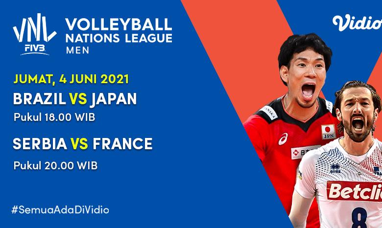 Jadwal dan Live Streaming Big Match VNL 2021: Brazil vs Jepang dan Serbia vs Perancis Hari Ini, 4 Juni 2021 Eksklusif di Vidio