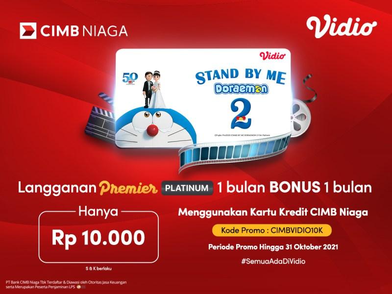 Paket Vidio 1 Bulan Dapat 2 Bulan, Hanya Rp 10.000,- dengan Promo CIMB Niaga!