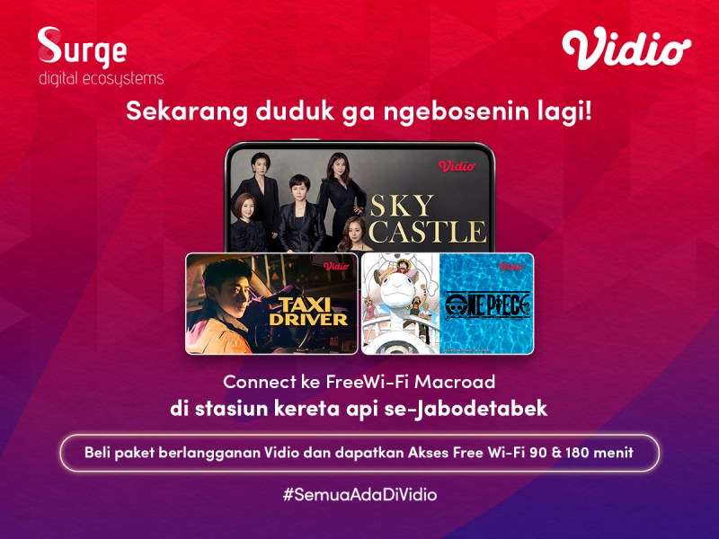 Beli Paket Vidio di Stasiun Kereta se-Jabodetabek, Dapat Akses Free Wifi 90/180 Menit