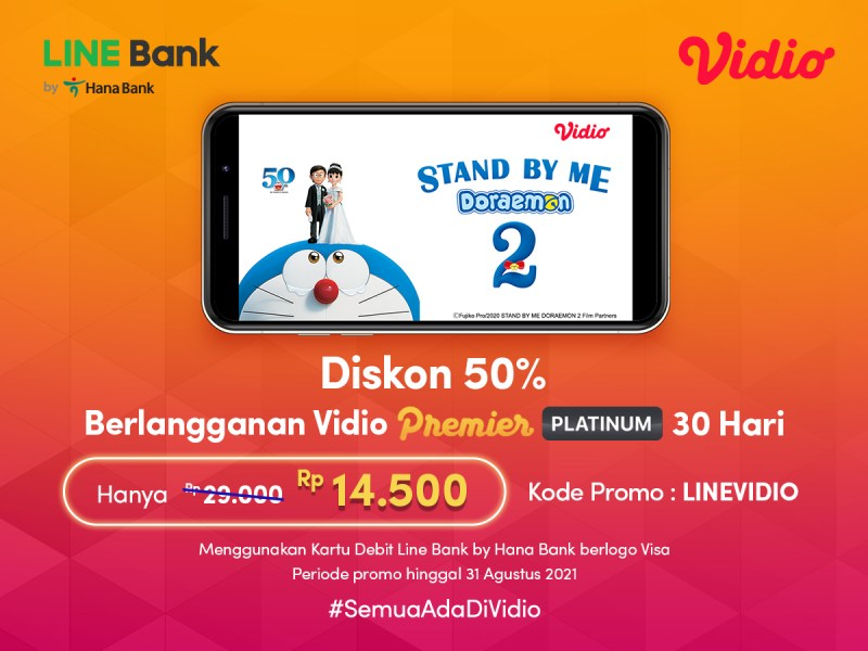 Diskon 50% Berlangganan Vidio Platinum 30 Hari dengan Promo Kartu Debit LINE Bank