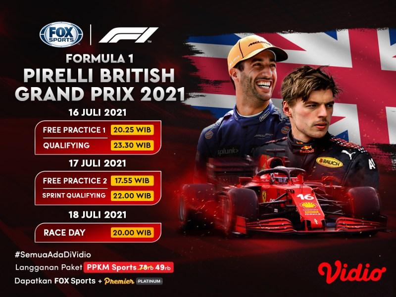 Jadwal dan Link Live Streaming Formula 1 Pirelli British Grand Prix 2021 Akhir Pekan Ini
