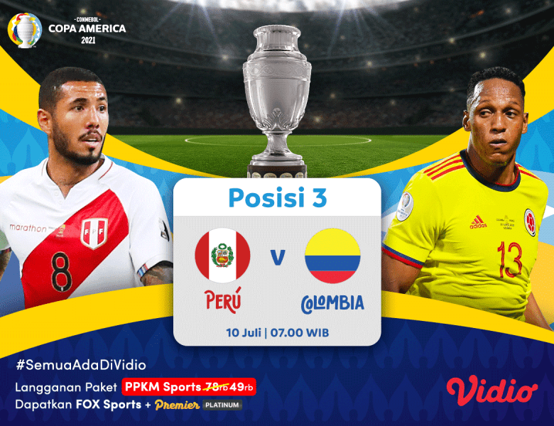 Live Streaming Perebutan Juara 3 Copa America 2021: Peru vs Kolombia