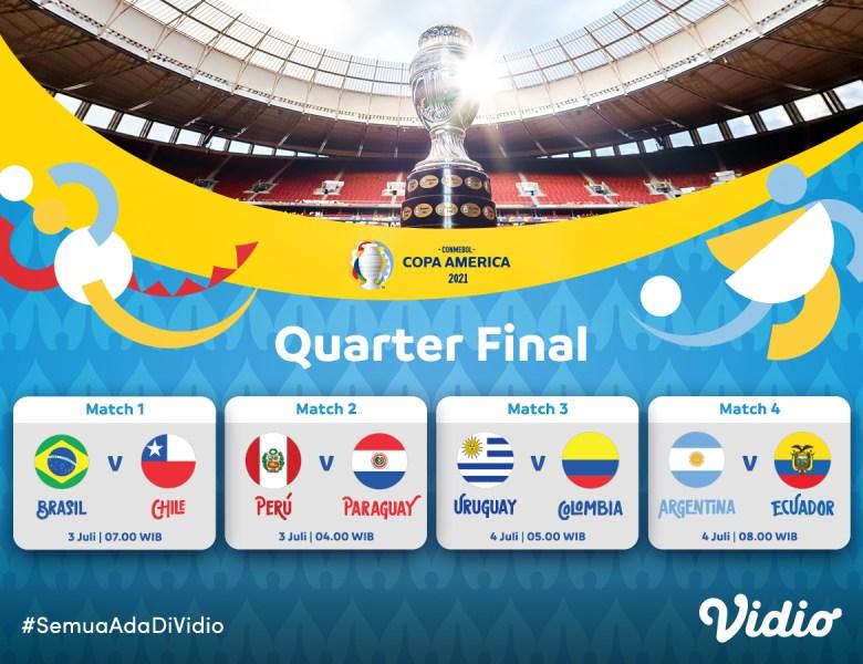 Jadwal Perempat Final Copa America 2021 Eksklusif di Vidio: Yuk PPKM di Rumah Saja