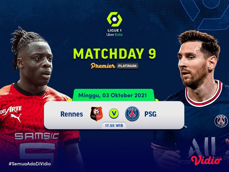 Streaming Ligue 1 Live Pekan 9, Big Match Rennes vs PSG 2021/22