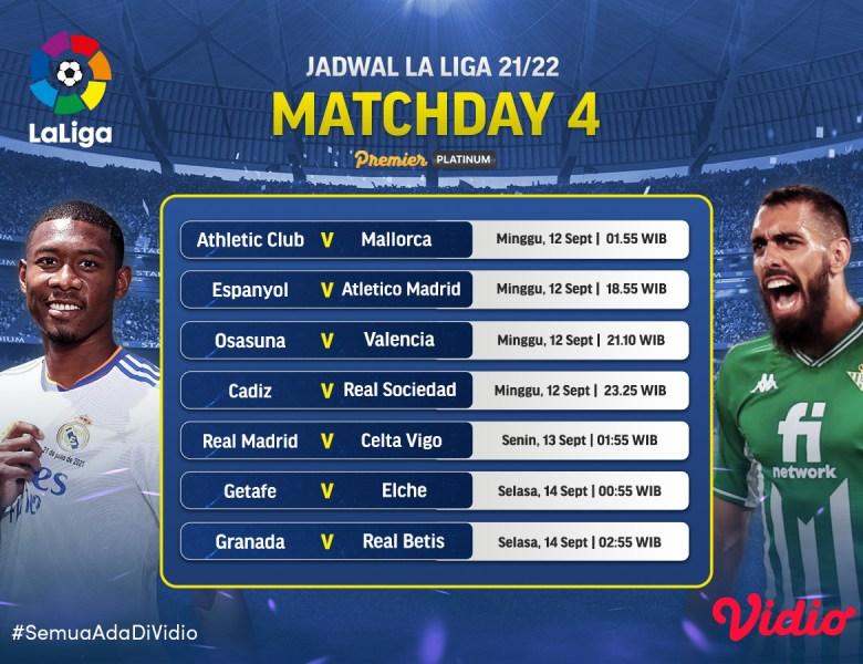Jadwal Liga Spanyol La Liga Live Streaming 2021/22 Jornada 4