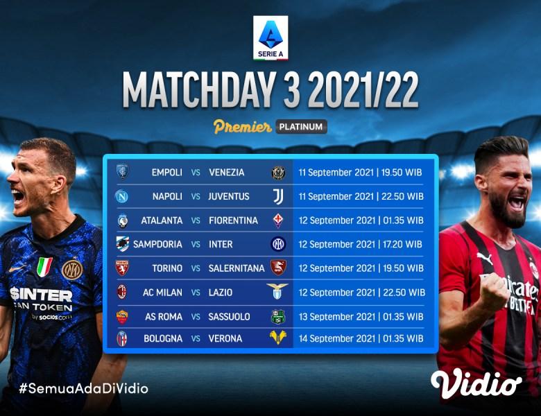 Streaming Liga Italia Serie A 2021/22 Matchday 3 di Vidio