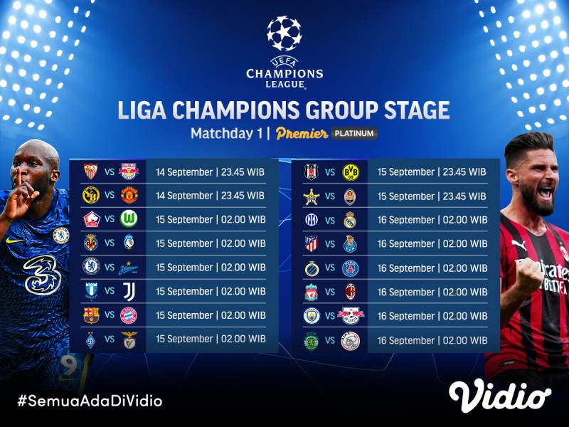 Streaming UEFA Champions League 2021/22 Group Stage: Matchday 1