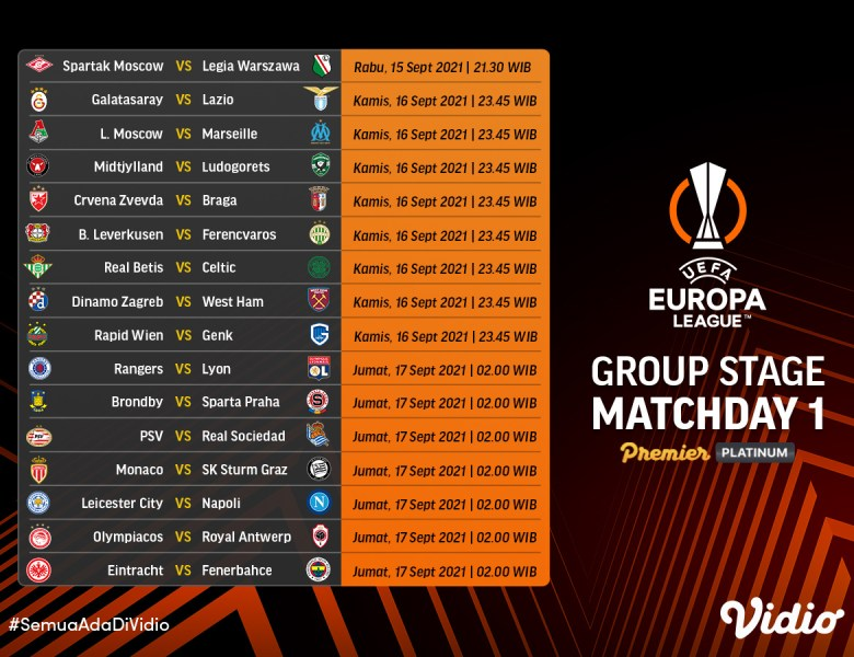 Streaming UEFA Europa League 2021/22 Group Stage: Matchday 1