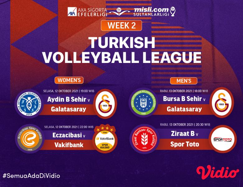 Link Live Streaming Liga Voli Turki Putra dan Putri 2021 Pekan Kedua