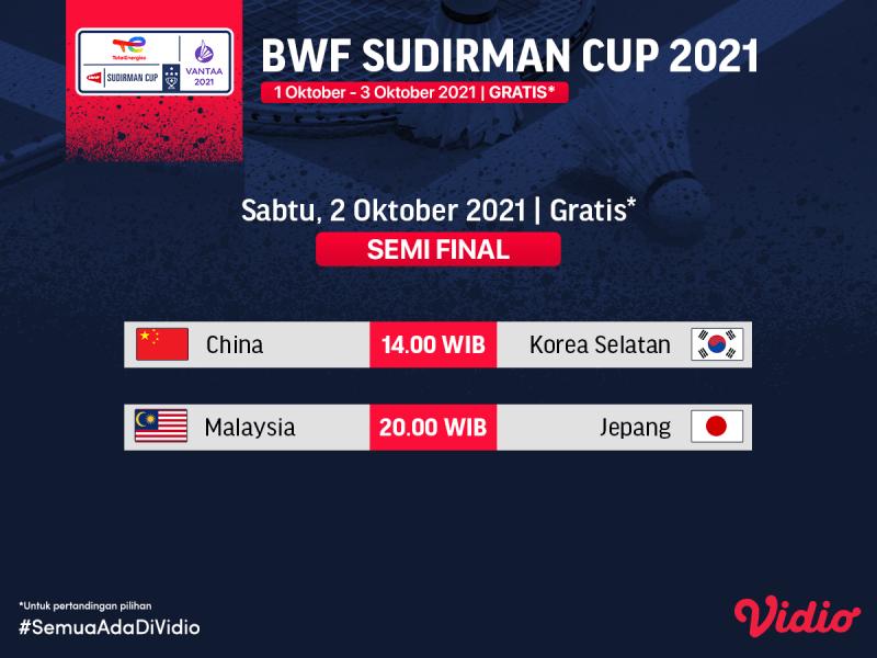 Sedang Berlangsung! Live Streaming Sudirman Cup 2021 Babak Semifinal