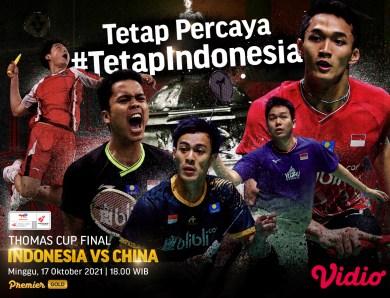 Link Live Streaming Indonesia vs China Final Piala Thomas 2020 di Vidio