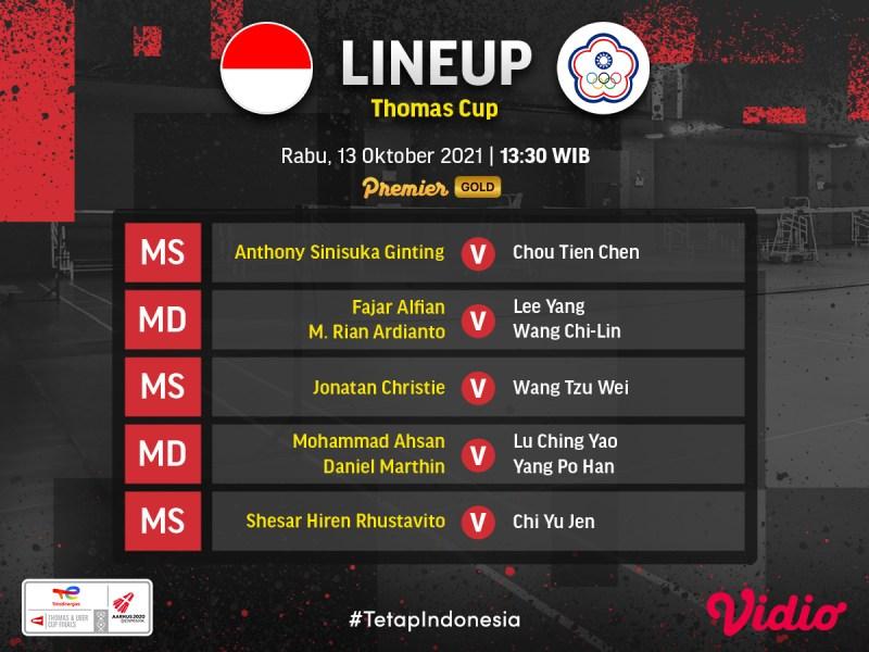 Thomas Cup 2020: Ini Jadwal dan Order Of Play Indonesia vs Taiwan