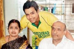 Rohit Sharma with his Father Gurunath Sharma & Mother Purnima Sharma