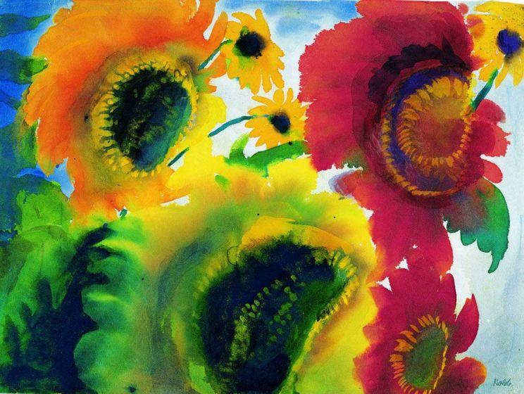 Girasoli-rossi-e-gialli.-1920-aquarell-362-x-48-cm