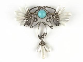 Chamarande Art Nouveau brooch turquoise pâte de verre and pearls (BRAFA 41b)