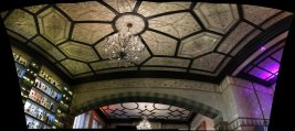 Tiled ceiling at De Quincey House, Glasgow