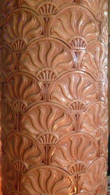 Spectacular tiled pillars at De Quincey House, Glasgow