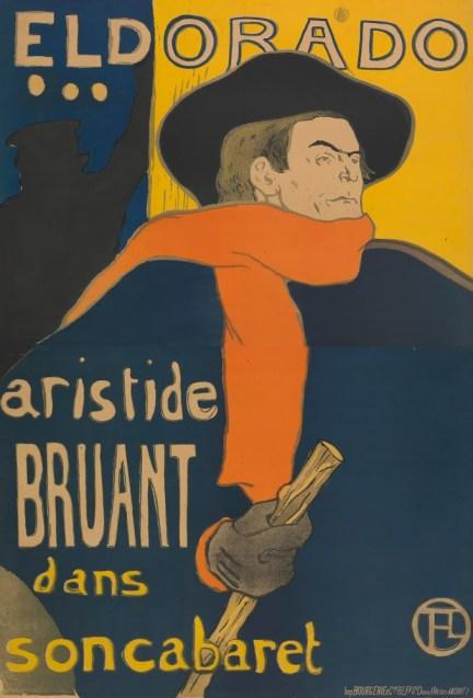 Henri de Toulouse-Lautrec, Poster for the performance of Aristide Bruant in the Café-concert Eldorado, 1892