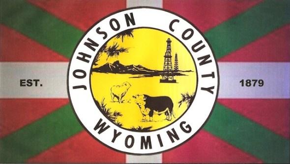 Flag of Johnson County, Wyoming, USA; based on the 'ikurriña'