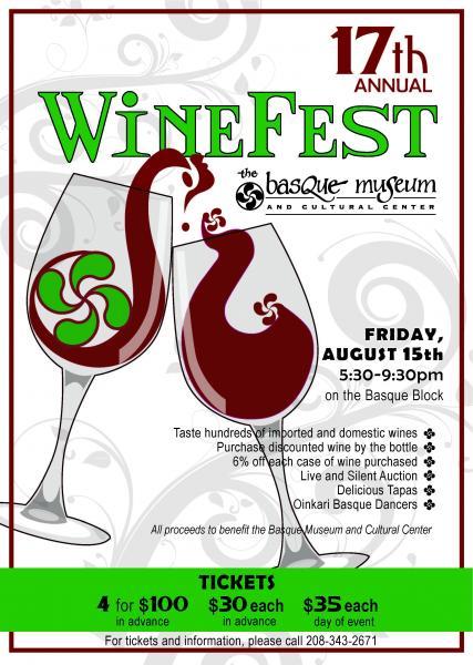 Cartel del la 17ª edicion de Winefest organizado por el Museo Vasco de Boise