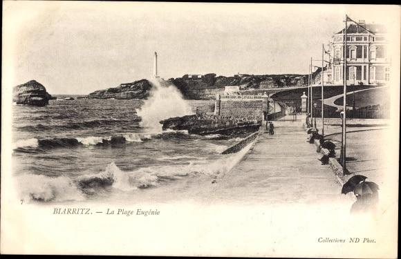 Biarritz La Plage Eugenie, Blick auf den Leuchtturm (akpool)