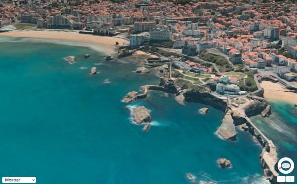 Captura de la vista  3D de Biarritz con la aplicación Maps de Apple