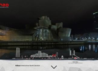 pantalla de inicio de este recorrido por Nilbao con fotografías del arquitecto portugues Nuno Madeira