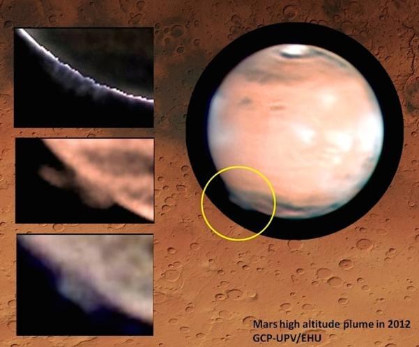 Penacho en Marte (imagen: Grupo Ciencias Planetarias (GCP) - UPV/EHU, W. Jaeschke, D. Parker)