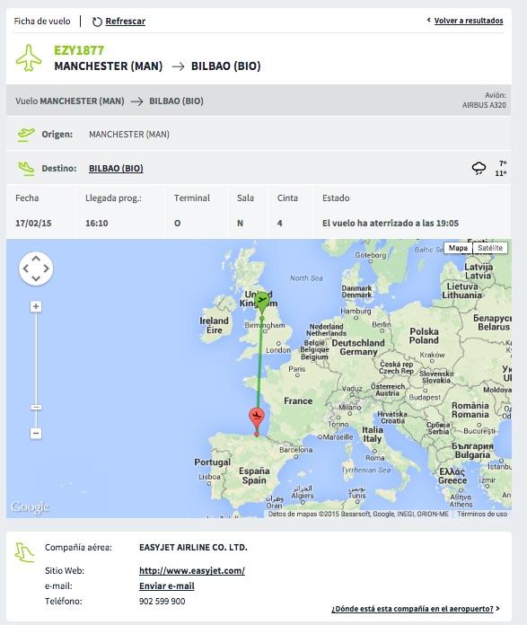 Ficha de la web del Aeropuerto de Bilbao del vuelo EasyJet EZY1877 del 17/272015