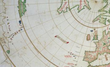 Detalle del Atlántico norte del mapa de Vesconte Maggiolo publicado en Nápoles en 1511. John Carter Brown Library
