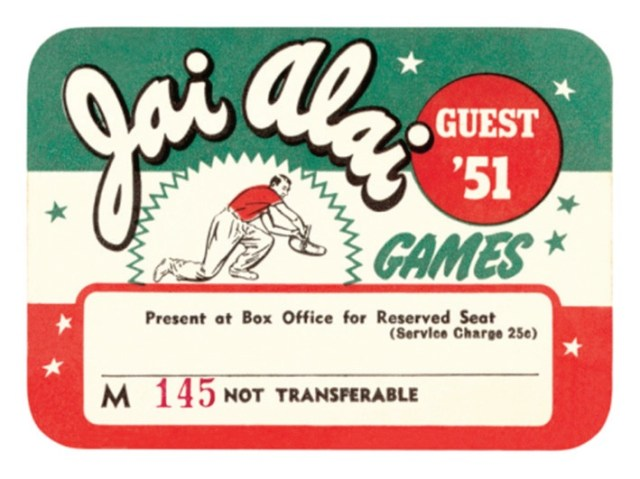 entrada a un partido de Jai Alai en USA del año 1951, con los colores de la Ikurriña