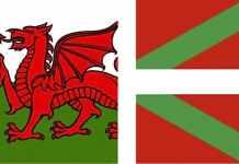 Banderas de Gales y Euskadi
