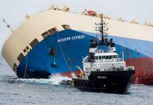 Foto del Modern Express siendo remolcado al Puerto de Bilbao,en el diario Le monde