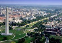 Vista aérea del National Mall donde se celebra el Smithsonian Folklife Festival