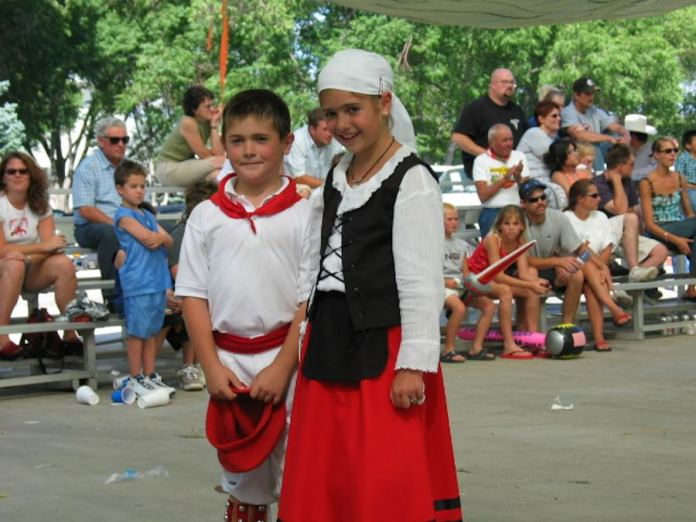 Two young Basque dancers, dantzaris, a the National Basque Festival in Elko