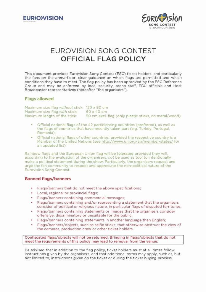 listado banderas especialmente prohibidas eurovision