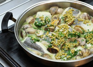 Merluzza a la Koxkera: hake with peas, clams, garlic, white wine, and parsley. For members only. Photo by Craig Cavallo
