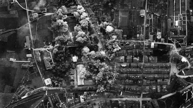 Images taken from the Italian planes during the bombing of Durango