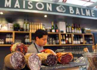 Stacks of saucisson in the central market. Photo: Clare Hand
