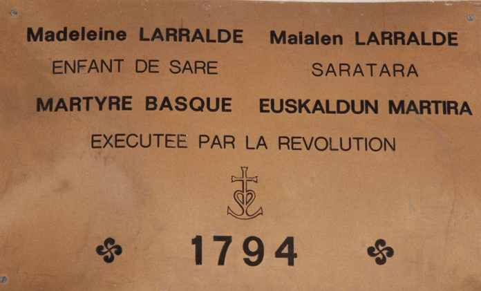 The French Revolution had enormous political, economic, and personal consequences for the Basques.  A commemorative plaque in St. Martin's Church to a victim of the repression 1793-1795 (Sare, Labourd).