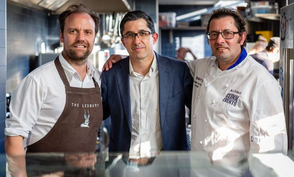 The London dinner to mark the opening of nominations for 2018 at Refettorio Felix. From left, Brett Graham (head chef of The Ledbury), Joxe Mari Aizega (director of the BCC) and Alberto Crisci (founder of The Clink Charity and a BCWP 2016 finalist). Photo Courtesy of the Basque Culinary World Prize.PHOTO COURTESY OF THE BASQUE CULINARY WORLD PRIZE.