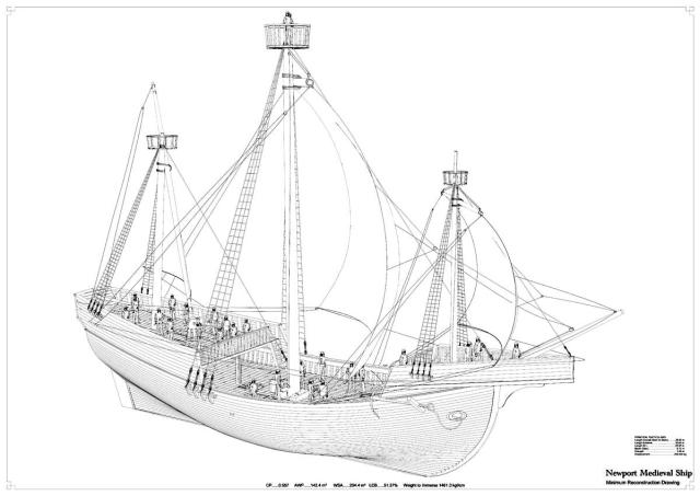Drawings show scale of Newport's medieval ship