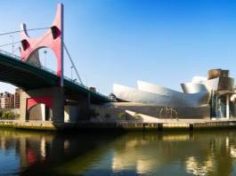 La Salve Bridge and Guggenheim Museum in Bilbao