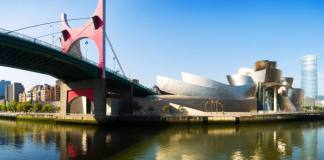 La Salve Bridge and Guggenheim Museum in Bilbao