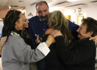 Sgt. Aitor Narvaiza celebrates news of his lead over incumbent Sheriff Jim Pitts as Elko County reported election returns for the city of Elko on Tuesday night.