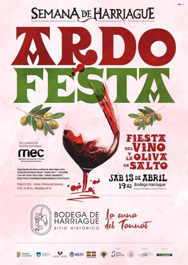 "Cartel de la ""Ardo festa"" 2019 en Salto"