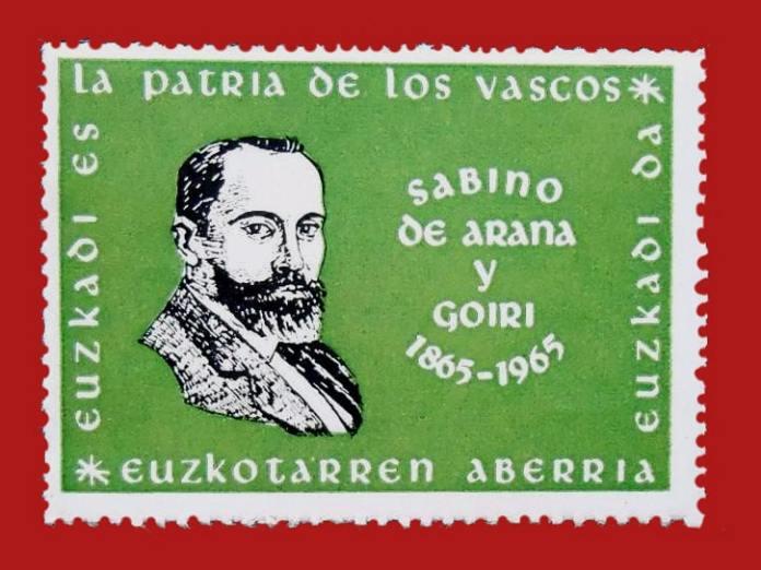 sello centenario nacimiento de Sabino Arana (1865-1965) impreso en Venezuela por Euzko Gaztedi