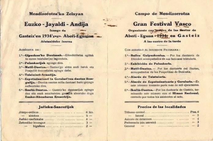Aberri Eguna 1934 -Gasteiz - Interior del díptico del programa de actos